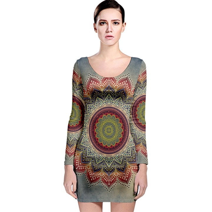 Folk Art Lotus Mandala Dirty Blue Red Long Sleeve Bodycon Dress