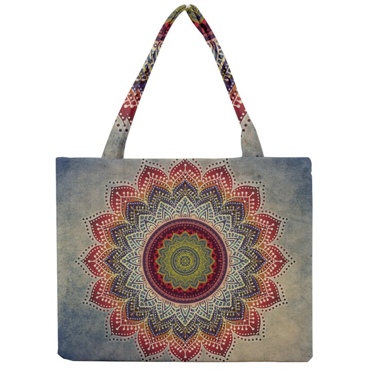 Folk Art Lotus Mandala Dirty Blue Red Mini Tote Bag