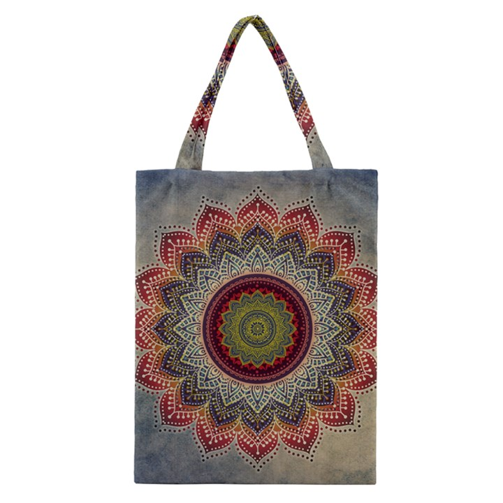 Folk Art Lotus Mandala Dirty Blue Red Classic Tote Bag