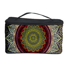 Folk Art Lotus Mandala Dirty Blue Red Cosmetic Storage Case