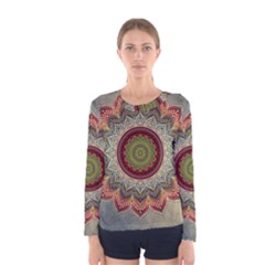 Folk Art Lotus Mandala Dirty Blue Red Women s Long Sleeve Tee