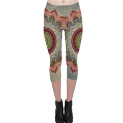 Folk Art Lotus Mandala Dirty Blue Red Capri Leggings