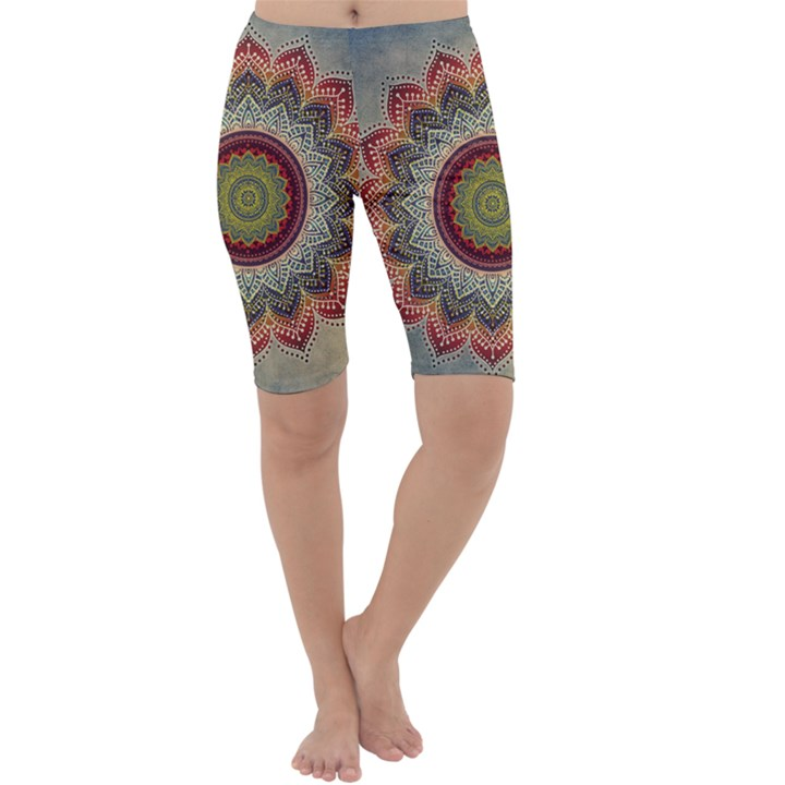 Folk Art Lotus Mandala Dirty Blue Red Cropped Leggings