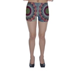 Folk Art Lotus Mandala Dirty Blue Red Skinny Shorts