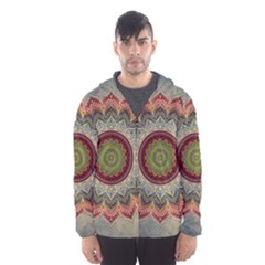 Folk Art Lotus Mandala Dirty Blue Red Hooded Wind Breaker (men)