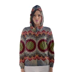 Folk Art Lotus Mandala Dirty Blue Red Hooded Wind Breaker (women)