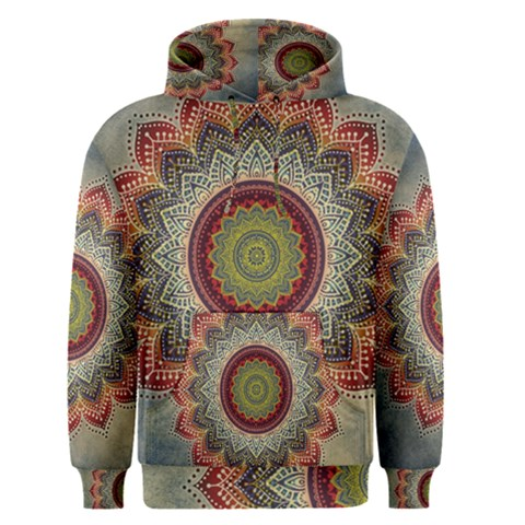 Folk Art Lotus Mandala Dirty Blue Red Men s Pullover Hoodie