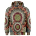 Folk Art Lotus Mandala Dirty Blue Red Men s Pullover Hoodie View1