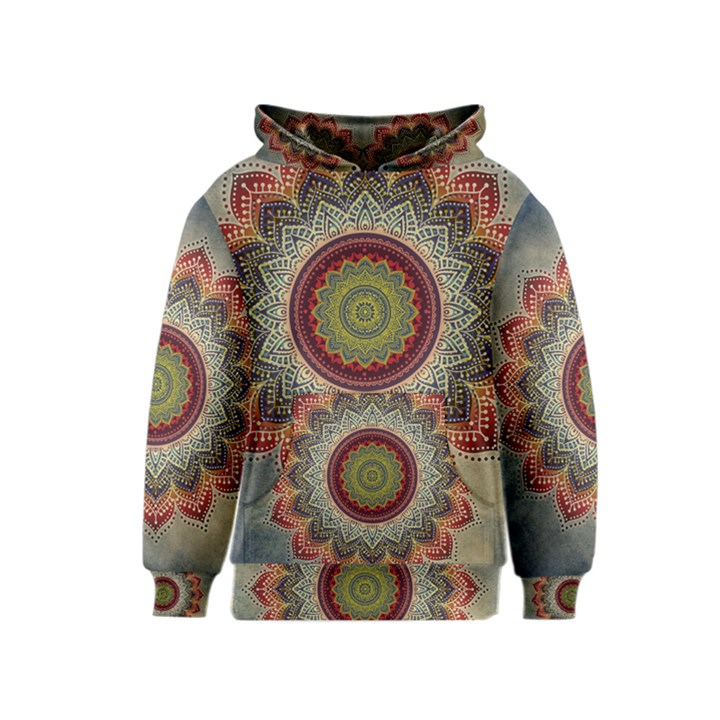 Folk Art Lotus Mandala Dirty Blue Red Kids  Pullover Hoodie