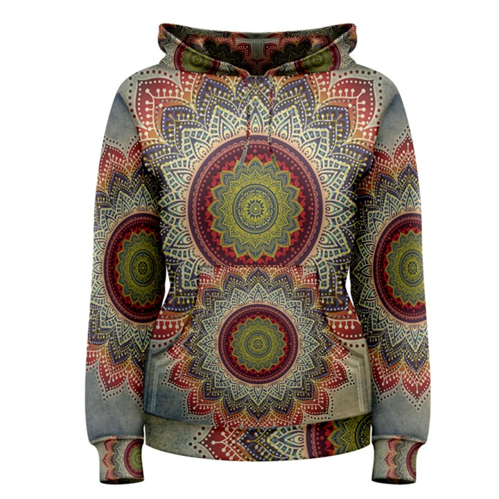 Folk Art Lotus Mandala Dirty Blue Red Women s Pullover Hoodie