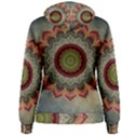 Folk Art Lotus Mandala Dirty Blue Red Women s Pullover Hoodie View2