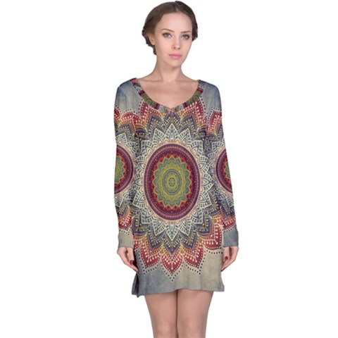 Folk Art Lotus Mandala Dirty Blue Red Long Sleeve Nightdress