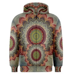 Folk Art Lotus Mandala Dirty Blue Red Men s Zipper Hoodie