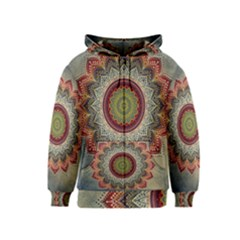 Folk Art Lotus Mandala Dirty Blue Red Kids  Zipper Hoodie