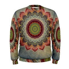 Folk Art Lotus Mandala Dirty Blue Red Men s Sweatshirt