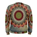 Folk Art Lotus Mandala Dirty Blue Red Men s Sweatshirt View1