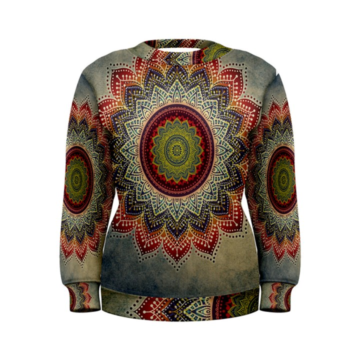 Folk Art Lotus Mandala Dirty Blue Red Women s Sweatshirt