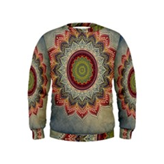Folk Art Lotus Mandala Dirty Blue Red Kids  Sweatshirt