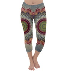 Folk Art Lotus Mandala Dirty Blue Red Capri Winter Leggings
