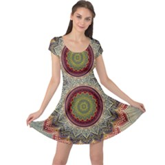 Folk Art Lotus Mandala Dirty Blue Red Cap Sleeve Dresses
