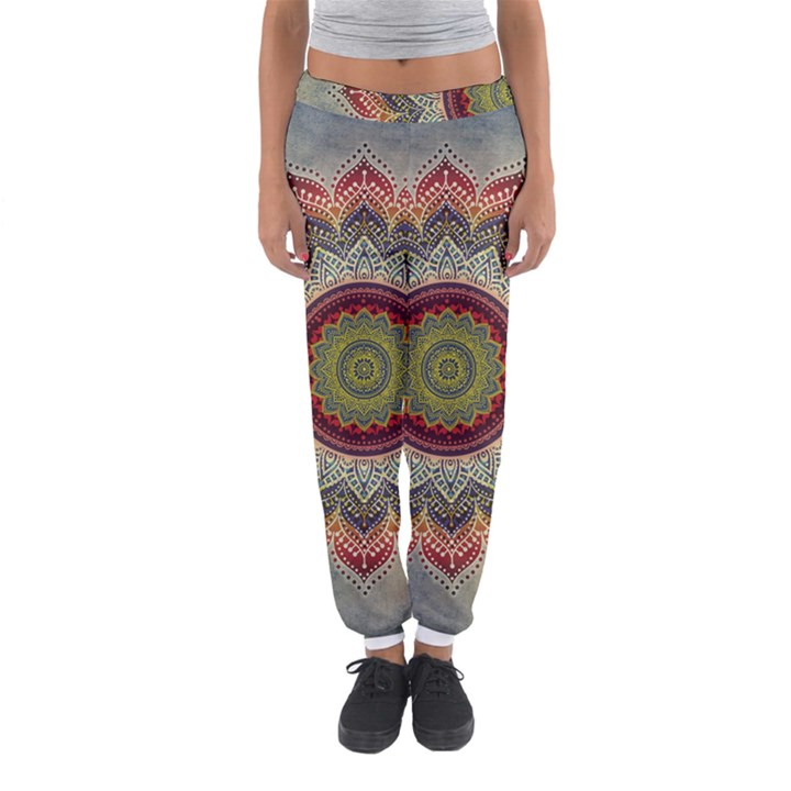 Folk Art Lotus Mandala Dirty Blue Red Women s Jogger Sweatpants
