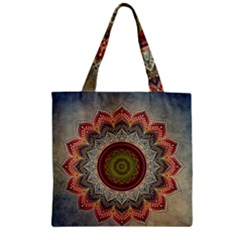 Folk Art Lotus Mandala Dirty Blue Red Zipper Grocery Tote Bag