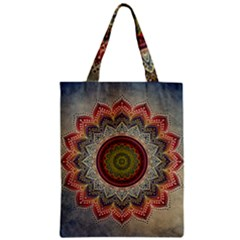 Folk Art Lotus Mandala Dirty Blue Red Zipper Classic Tote Bag