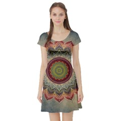 Folk Art Lotus Mandala Dirty Blue Red Short Sleeve Skater Dress