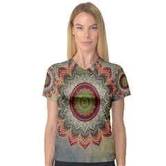 Folk Art Lotus Mandala Dirty Blue Red Women s V Neck Sport Mesh Tee