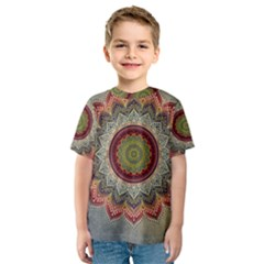 Folk Art Lotus Mandala Dirty Blue Red Kids  Sport Mesh Tee