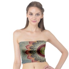 Folk Art Lotus Mandala Dirty Blue Red Tube Top