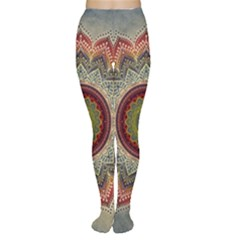Folk Art Lotus Mandala Dirty Blue Red Women s Tights