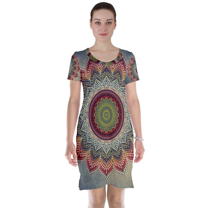 Folk Art Lotus Mandala Dirty Blue Red Short Sleeve Nightdress