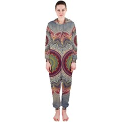 Folk Art Lotus Mandala Dirty Blue Red Hooded Jumpsuit (ladies)