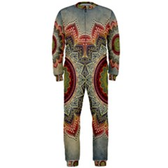 Folk Art Lotus Mandala Dirty Blue Red OnePiece Jumpsuit (Men)