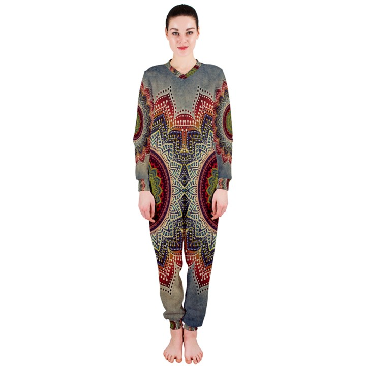 Folk Art Lotus Mandala Dirty Blue Red OnePiece Jumpsuit (Ladies)