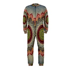 Folk Art Lotus Mandala Dirty Blue Red Onepiece Jumpsuit (kids)