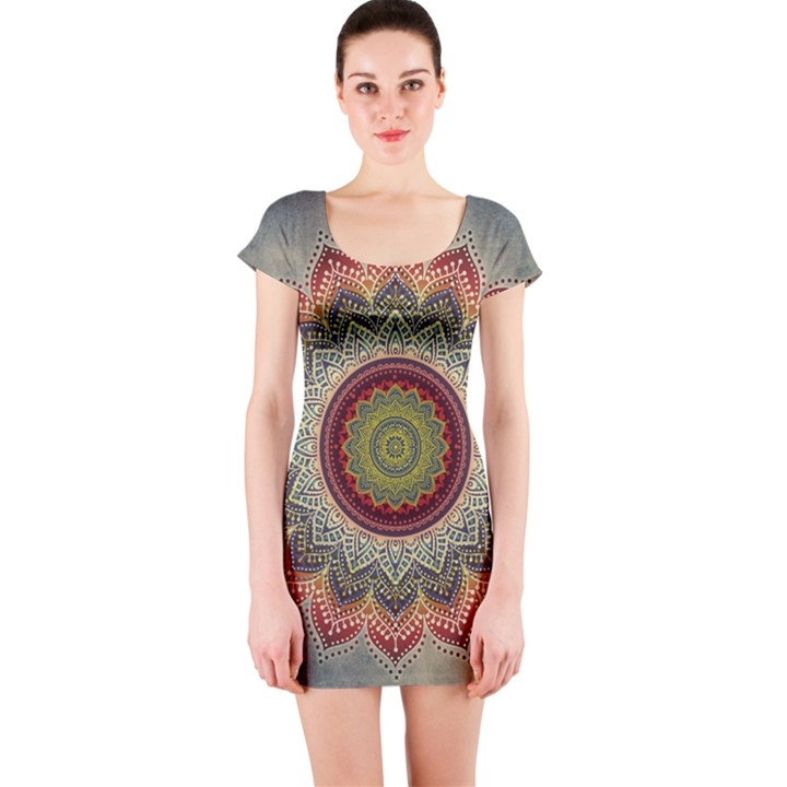 Folk Art Lotus Mandala Dirty Blue Red Short Sleeve Bodycon Dress