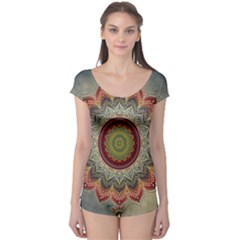 Folk Art Lotus Mandala Dirty Blue Red Boyleg Leotard
