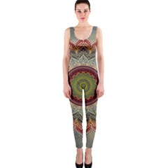 Folk Art Lotus Mandala Dirty Blue Red OnePiece Catsuit