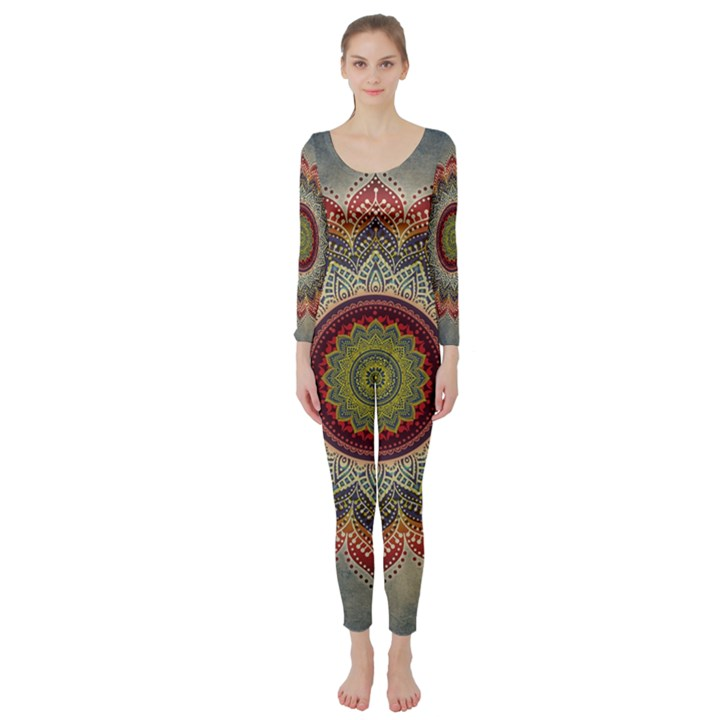 Folk Art Lotus Mandala Dirty Blue Red Long Sleeve Catsuit