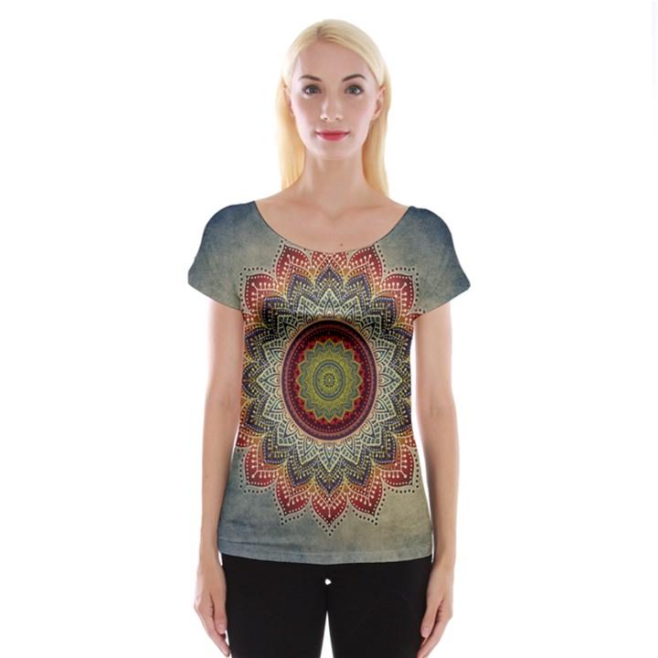 Folk Art Lotus Mandala Dirty Blue Red Women s Cap Sleeve Top
