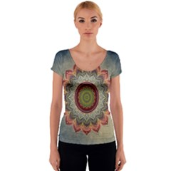 Folk Art Lotus Mandala Dirty Blue Red Women s V-Neck Cap Sleeve Top
