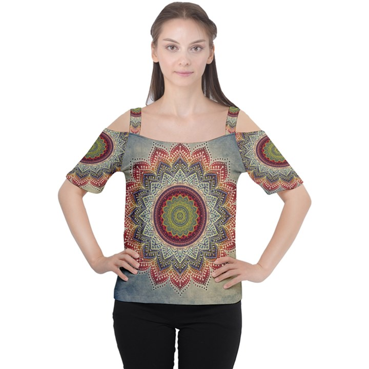 Folk Art Lotus Mandala Dirty Blue Red Women s Cutout Shoulder Tee