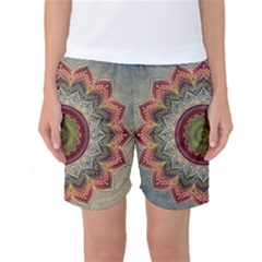 Folk Art Lotus Mandala Dirty Blue Red Women s Basketball Shorts