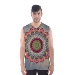 Folk Art Lotus Mandala Dirty Blue Red Men s Basketball Tank Top