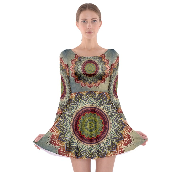 Folk Art Lotus Mandala Dirty Blue Red Long Sleeve Skater Dress
