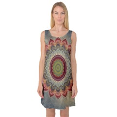 Folk Art Lotus Mandala Dirty Blue Red Sleeveless Satin Nightdress