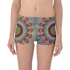 Folk Art Lotus Mandala Dirty Blue Red Boyleg Bikini Bottoms