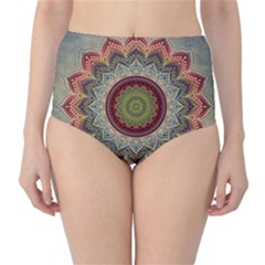 Folk Art Lotus Mandala Dirty Blue Red High-Waist Bikini Bottoms